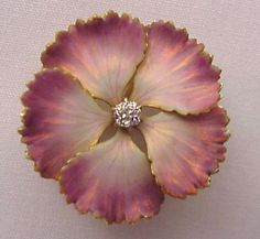 Stunning Krementz Art Nouveau 14kt. Gold & Enamel Flower Watch Pin - Circa 1910