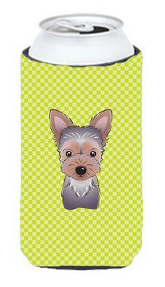 Checkerboard Lime Green Yorkie Puppy Tall Boy Beverage Insulator Hugger BB1294TBC