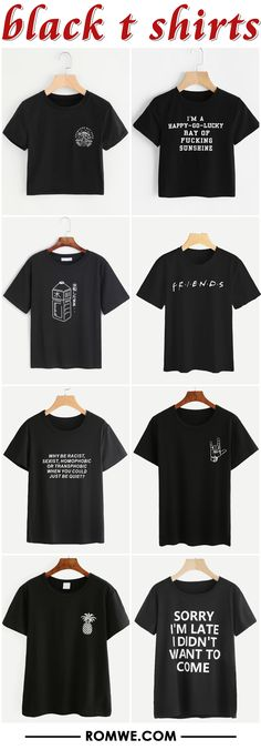 black t shirts from romwe.com
