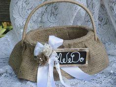 Oval Burlap Flower Girl Basket Ivory Cream Rustic by EuphoriaRoad, $44.00