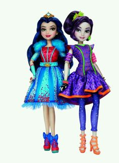 Neon lights ball dolls Disney descendants Mal and Evie -watch them glow in the dark