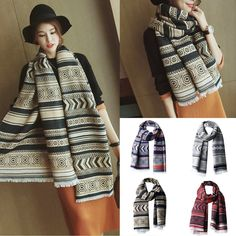 Lady Vintage Women Long Soft Cotton Scarves Shawl Wrap Scarf Winter Wrap Warm