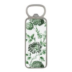 #flower - #Leaf Green Vintage Botanical Floral Toile No.2 Magnetic Bottle Opener