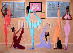 SALE- Stretchin Sistas- African American Fitness Yoga Exercise Print via Etsy