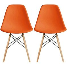 2xhome  Set of Two 2  Orange  Eames Style Side Light Brown Neutral Wood Legs Eiffel Dining Room Chair  No Arm Arms Armless Less Chairs Seats Molded Plastic Dowel Base Metal >>> Click image to review more details.Note:It is affiliate link to Amazon. #black