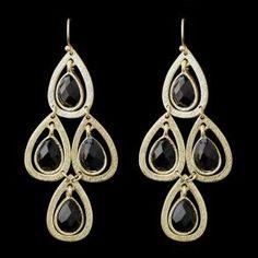New Bridesmaid Gold Black D - Earrings - $32.99