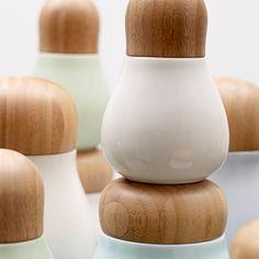 Kähler Mano Ceramic and Wood Jars