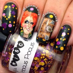 Hocus Pocus nail art by MadamLuck on deviantART Creative Nail Designs, Creative Nails, Nail Art Designs, Halloween Nail Designs, Halloween Nail Art, Halloween Ideas, Funky Nails, Love Nails, Pretty Nails