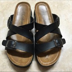 FINAL SALE Black Sandal Buckle Shoes. Black Sandal Buckle Shoes. Used basically everyday when I lived in Guam but not anymore. Still in pretty good condition. TAGGED BIRKENSTOCK FOR ITEM EXPOSURE! Make me an offer! Cheaper on my Ⓜ️ercari! Birkenstock Shoes Sandals