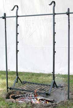 A great option if you're cooking food over the open fire often. over campfire fire pits Wrought Iron Hanging Grills Metal Projects, Welding Projects, Outdoor Projects, Diy Welding, Woodworking Projects, Diy Projects, Outdoor Fire, Outdoor Living, Outdoor Sheds