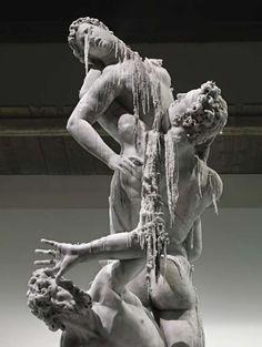 Melting Statue Replicas - Urs Fischer Creates Wax Sculpture of The Rape of the Sabine Women