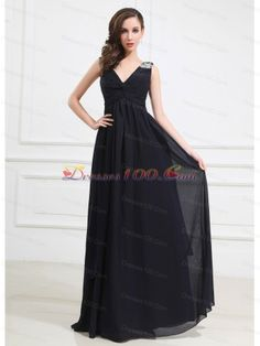 Beaded Decorate Shoulder Chiffon Empire Floor-length V-neck Prom Dress Navy Blue - US$150.29