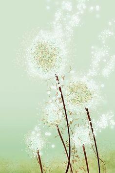 Dandelion Art  Perennial Moment tea green  24x36 por papermoth, $125.00