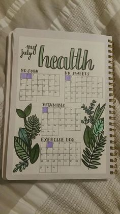 Monitor your health with your bullet journal. Here's an example. Plus 100 more BuJo page ideas in this post! Monitor your health with your bullet journal. Here's an example. Plus 100 more BuJo page ideas in this post! Bullet Journal Mise En Page, List Of Bullet Journal Pages, Bullet Journal Tracker, Bullet Journal 2019, Bullet Journal Writing, Bullet Journal Spread, Bullet Journal Health, Bullet Journal Workout, Bullet Journal Goals Layout