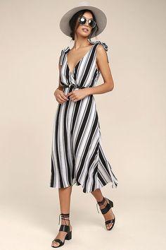 Ali & Jay Salsa Conmigo Ivory Striped Midi Dress