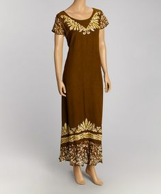 This Olive & White Mendhi Dress is perfect! #zulilyfinds