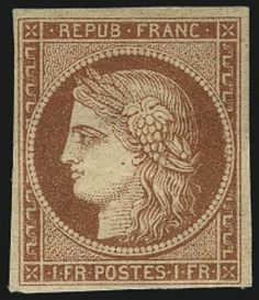 France Ceres Issue 1fr stamp auctions for $75,000 with Siegel