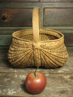 Grandma's Old Vintage Farmhouse Egg Basket with Tight Weave, Bentwood from hannahshouseantiques on Ruby Lane