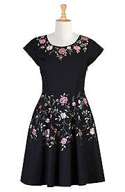 Floral vine cotton poplin dress