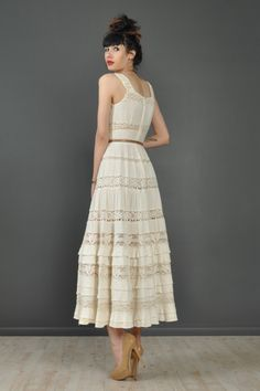 vtg 60s gauze CROCHET cutout LACE tiered wedding hippie boho festival maxi dress - pinterest.com/allerius - Women's Fashion