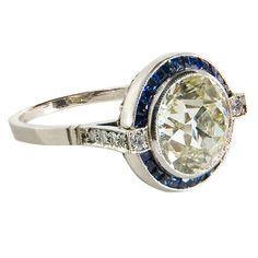 Stunning Art Deco platinum 2.2 ct diamond and sapphire ring