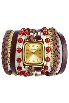 These unique watches incorporate everything you need to spice up your outfits. From leather cords to beads to chain link bracelets, the all-in-one watch design creates a series of stacked bracelets hugging a chic timepiece. We love it for dressing up the LBD or adding some funky flavor to your favorite jeans and tank. Stone: Red carnelian Colors: Red, brown and gold, Materials: Genuine leather, Metal chain links watch Face: 14 Karat gold overlay Movement: Japanese quartz Water resistant: 1…