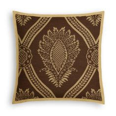 Brown Medallion Trellis Tailored Throw Pillow   #loomdecor