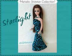Dawn Doll kleren Metallic Confetti jurk + tas + sieraden - Custom mode - door dolls4emma
