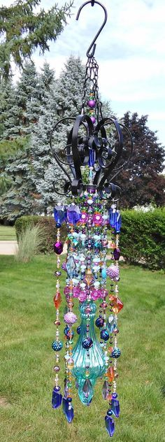 Wind Chime Sun Catcher Beaded Unique Crystals Galore Collection Arabian Nights Arabian Nights Beaded Glass Wind Chime Sun Catcher By Gardenblingbykristin Crystal Wind Chimes, Glass Wind Chimes, Diy Wind Chimes, Unique Wind Chimes, Wind Spinners, Dreams Catcher, Carillons Diy, Arabian Nights, Garden Crafts