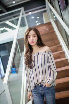 Off shoulder top #koreanfashion More