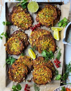 Fresh zucchini, grated Halloumi cheese, along with Feta, pine nuts and tart barberries take these fun to make fritters to the next level. A lime yogurt sauce is the perfect finish.