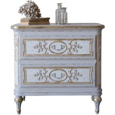 Eloquence Bronte Nightstand ($1,375) ❤ liked on Polyvore featuring home, furniture, storage & shelves, nightstands, floral painted furniture, painted furniture, painted nightstands, fleur de lis furniture and victorian style furniture