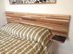 Bed board made of pieces of wood with 2 shelfs for gadgets !