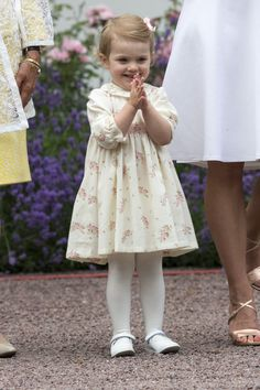 Princess Estelle pictured in July during her mother's 37th birthday celebration at Solliden Palace.