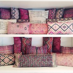 Embroidered Pillows The key here is to go way overboard. And, mixing and matching various prints and sizes is best. #refinery29 http://www.refinery29.com/unique-small-space-decorating-ideas#slide-7