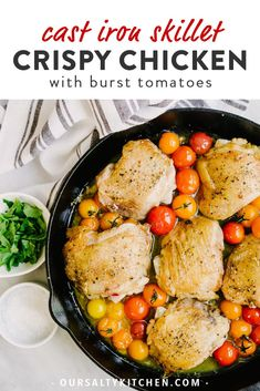 These crispy chicken thighs are a family favorite! A weeknight dinner winner. Grilled Chicken Thighs, Chicken Skin, Grilled Chicken Recipes, Crispy Chicken, Easy Clean Eating Recipes, Healthy Dinner Recipes, Whole Food Recipes, Vegan Recipes, Cast Iron Cooking