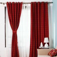 This country curtain in wine has plaid pattern printed on it. It is made in canvas which has high quality and high density. It is room darkening for Decorate your room beautiful and elegant. Red Curtains Living Room, Plaid Curtains, Country Curtains, Home Living Room, Curtain Texture, Curtain Fabric, Beautiful Curtains, Decorate Your Room, Room Darkening