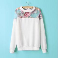 Elegant Women Fashion floral Print organza spliced white pullover outwear Casual slim long Sleeve brand design