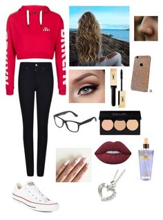 """❤️❤️"" by kyra-williamson ❤ liked on Polyvore featuring Topshop, Armani Jeans, Converse, Lime Crime and Victoria's Secret"