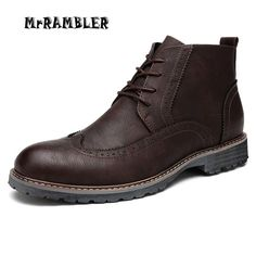 Men's Boots Fashion Leather Spring Autumn Ankle Boots -Casual Boots