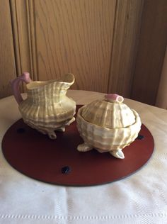 Vintage luster porcelain seashell sugar and creamer set by LADYG99 on Etsy