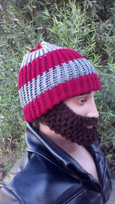 Maroon and Gray Beard Beanie w/ Detachable by HolyNoggins on Etsy, $35.00