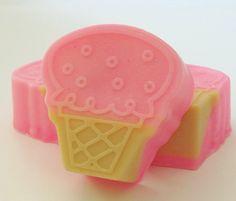 Pink Ice Cream Cone Soap - Natural Soap, Handmade Soap, Glycerin Soap, Scented Soap, Kids Soap, Fun Soap, Soap Favors. $3.50, via Etsy.