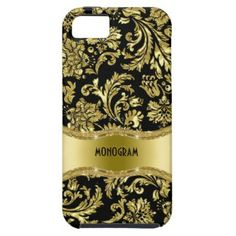Protect your device in style with this Black & Gold Metallic Floral Damasks-Customized iPhone 5 Case. This customizable case will be made-to-order and only for you. Iphone 4 Cases, 5s Cases, Phone Covers, Best Cell Phone Deals, Electronic Gifts For Men, Monogram Gifts, Damasks, Iphone Models, Galaxies