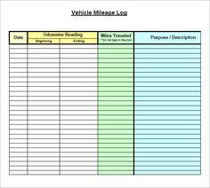Vehicle Mileage Log Form