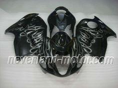 SUZUKI GSX-R 1300 1996-2007 Hayabusa ABS Fairing - Silver Flame  #fairinghayabusa #hayabusafairingkit