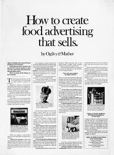 How to create food advertising that sells advertorial - Swipe File Clever Advertising, Advertising Quotes, Advertising Design, Sales And Marketing, Business Marketing, Marketing Branding, Advertising Photography, Photography Business, Advertising Techniques