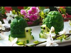 Art In Cucumber Turtles   Vegetable Carving Garnish   Party Food Decorat...