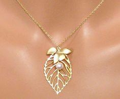 Sophia Bridal Necklace  Leaf Charm Gold Bridal by AuroraJewelryBox, $30.00
