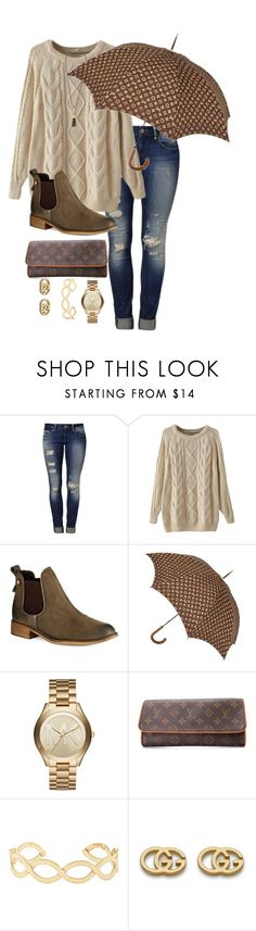 """Rainy Day in London"" by marisssarenae ❤ liked on Polyvore featuring Mavi, Steve Madden, Louis Vuitton, Michael Kors, Accessorize, Gucci and Kendra Scott"